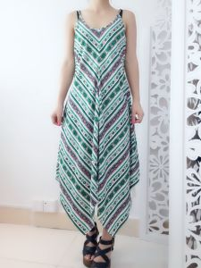 Korean Sleeveless Vest Bohemian Beach Skirt Striped Chiffon Dress Slim