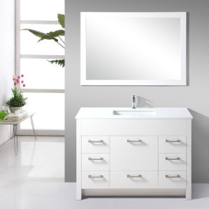 White Antique Finished Solid Oak Wood Bathroom Vanity