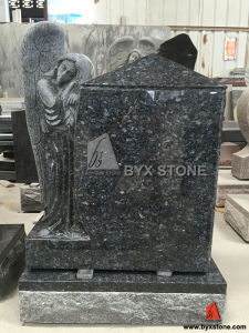 Blue Pearl Granite Standing Angel Carving Headstone pictures & photos