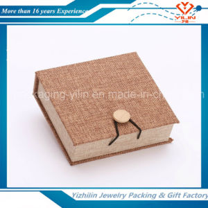 Classical Linen Cloth Jewelry Packaging Bangle Box with Wood Button