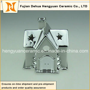 Ion Plating House Shape Ceramic Chimney for Christmas Decoration, (Home Decoration) pictures & photos