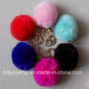 Furry Handmade Fur POM POM Rabbit Ball Key Chain pictures & photos