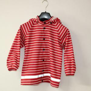Red Stripe Reflective PU Rain Jacket/Raincoat pictures & photos