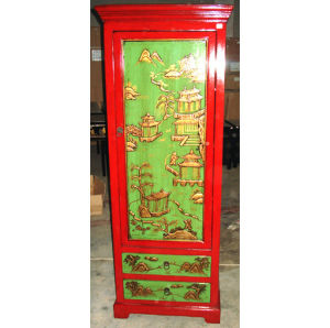 Chinese Antique Furniture Painted Tall Wardrobe Lwa420 pictures & photos