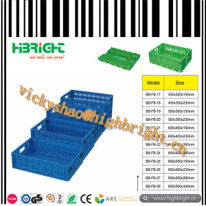 Injection Mold Supermarket Plastic Foldable Vegetable and Fruit Crate pictures & photos