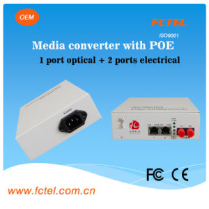 Poe Over Ethernet 2 Port Media Converter with Power Supply