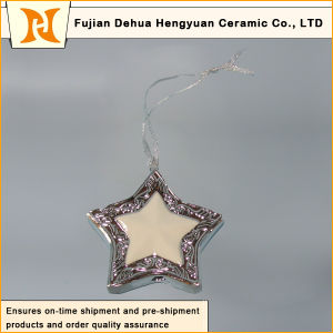Pentagram Electroplated Ceramic, Ceramic Pendants for The Christmas Tree pictures & photos