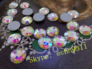 Ab Clear Facet Round Glass Stones with Two Holes for Sewing pictures & photos