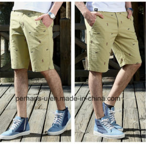 Cool Mens Print Khaki Chinos Cotton Shorts pictures & photos