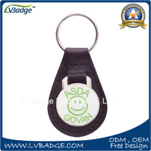 Promotional Metal PU Leather Key Chain with Ring pictures & photos