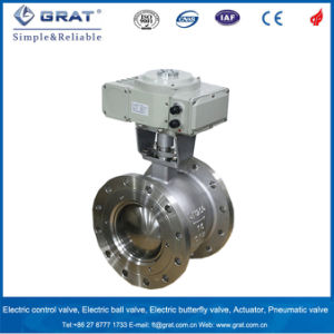 Dn100 Pn64 Ss316 Flange Connection Ball Valve with Actuator pictures & photos