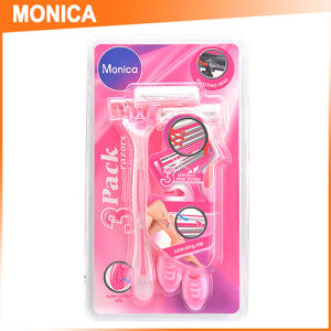 3PC Blister Pack Pink Women Disposable Shaving Razor