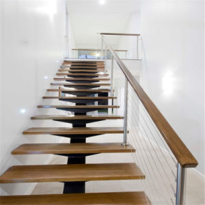 Solid Wood Step Straight Staircase with Stainless Steel Cable Railing for Villa pictures & photos