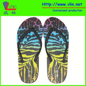 Narrow PVC Strap Flip Flops with Procees Printing pictures & photos