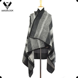2017 Fashion Woven Stripe Sleeveless Cashmere Dress Shawl pictures & photos