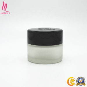 OEM Frosted Glass Jar with Black Lid pictures & photos