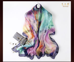 Digital Printing Real Silk Georgette Scarves Multicolor pictures & photos