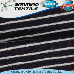 Indigo 145GSM 100% Cotton Striped Jersey Knitted Denim Fabric for T-Shirt pictures & photos