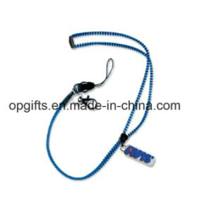 Custom promotional Gifts Rubber Logo Zipper Lanyard (LD12) pictures & photos