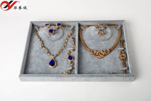 Gray Velvet Jewelry Display Tray for Double Necklace pictures & photos