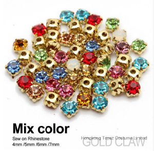 5mm Round Sew on Crystal Rhinestones in Gold Settings (SW-round 5/6/7/9/10mm) pictures & photos
