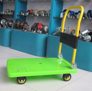150kg Green Color Plastic Platform Trolley Noiseless Folding Hand Truck pictures & photos