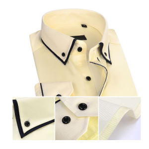 Men Yellow Formal Dress Long Sleeves Oxford Shirts pictures & photos