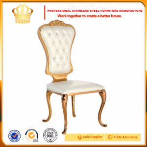 Fancy Design Round Stainless Steel Backrest Metal Rose Gold Dining Chairs pictures & photos