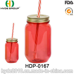 Wholesale Single Wall Plastic Mug, BPA Free Plastic Mason Jar with Lid and Straw (HDP-0167) pictures & photos