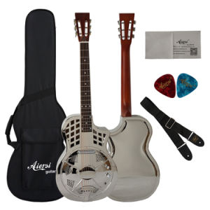 BV/SGS Certificate Supplier---China Aiersi Parlour Size Brass Body Cutway Resonator Guitar with Pickup pictures & photos