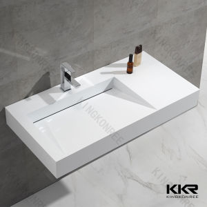 Modern Sanitary Ware Corian Solid Surface Bathroom Wall Hung Basin pictures & photos