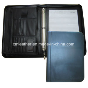 Zipped 3 Ring Binder Leather Padfolio with Note pictures & photos