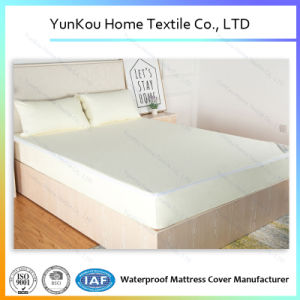 Queen Size Waterproof Terry Laminated Mattress Encasement in Light Yellow pictures & photos