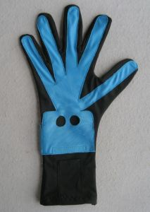 Blue Lycra Nylon Fabric Fashion Customed Glove for Electronic Products pictures & photos