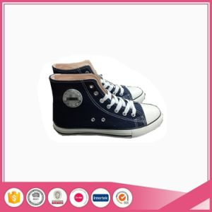 High Top Basic Style Black Canvas Vulcanized Shoes pictures & photos
