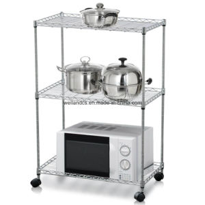 Multi-Purpose Chrome Metal Kitchen Microwave Oven Rack on Table pictures & photos