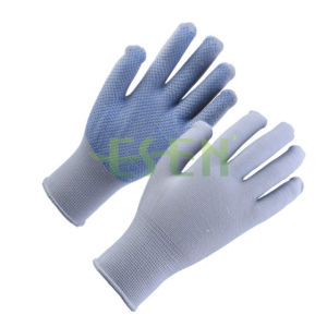 2017 Raw Cotton Glove with PVC Dots in Purple Color Work Gloves Knitted Cotton Gloves pictures & photos