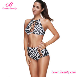 Sunkissed Cross Front Plus Pattern Black and White Bikini pictures & photos