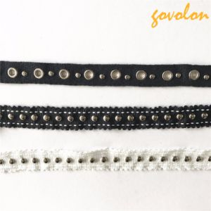 2017 New Arrival Eyelet/Button Black Trims/Lace pictures & photos