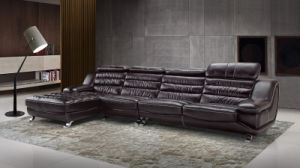 Three Seat with Chaise Leather Sofa for Home Living Room (HC2058) pictures & photos