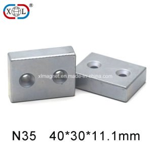 Two Screw Holes Block Magnet pictures & photos