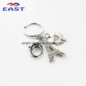 Eiffel Tower and Clover Pendant Metal Key Chain pictures & photos
