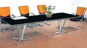 Rectangle Metal Leg Tempered Glass Conference Meeting Table /Desk (HX-GL056) pictures & photos