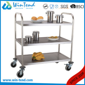Moving Stainless Steel Removable Shelves Three Tier Serving Trolley pictures & photos