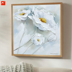 2 Pieces White Flower Handmade Oil Painting on Canvas pictures & photos