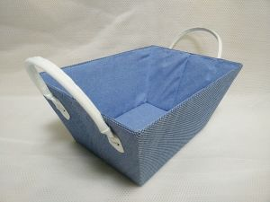 Paperloom Single Tapered Basket with Faux Leather Handle Blue pictures & photos