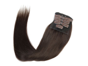 "Premium Quality 100% Human Hair Real Remy Clip-in Hair Extensions 24"" Color: Brown, 10PCS Set pictures & photos"