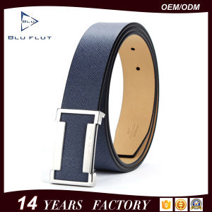 Customized Logo Brand Belt Saffiano Leather Mens Buckle Belt pictures & photos