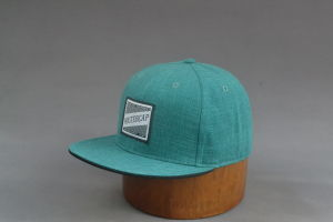 Green Flat Brim Snapback Hat with Woven Patch pictures & photos
