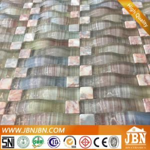 Square Marble and Bend Glass Mosaic for Kitchen Wall Border (M855041) pictures & photos